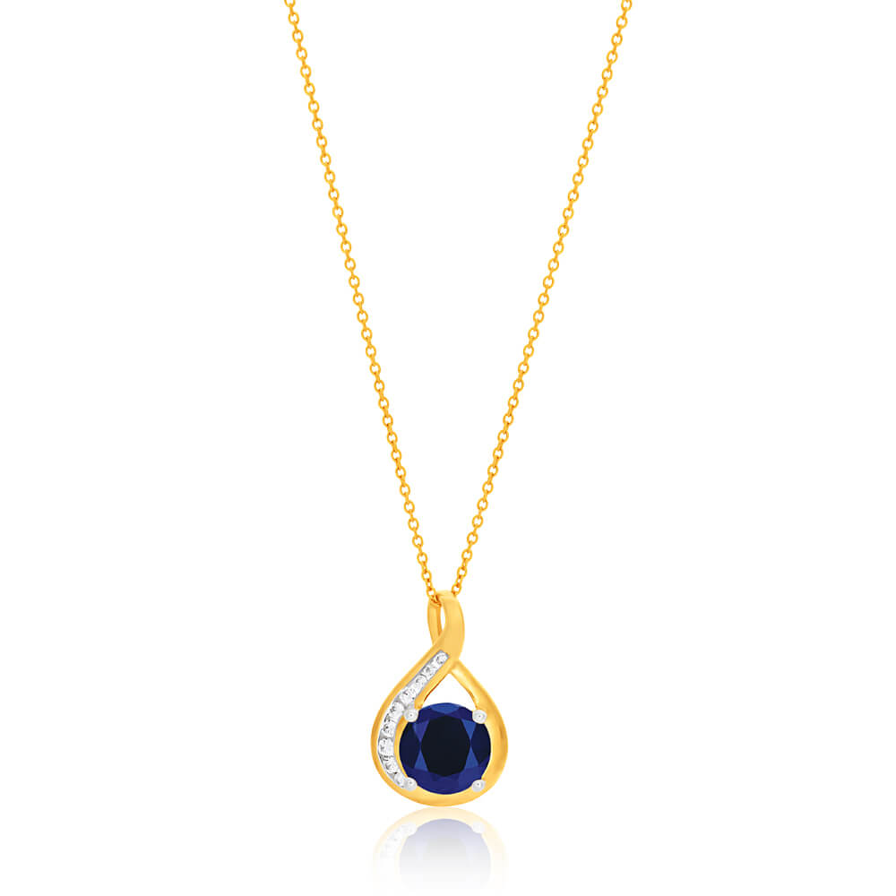 9ct Yellow Gold Created Blue Sapphire and Zirconia Pendant With 45cm Chain