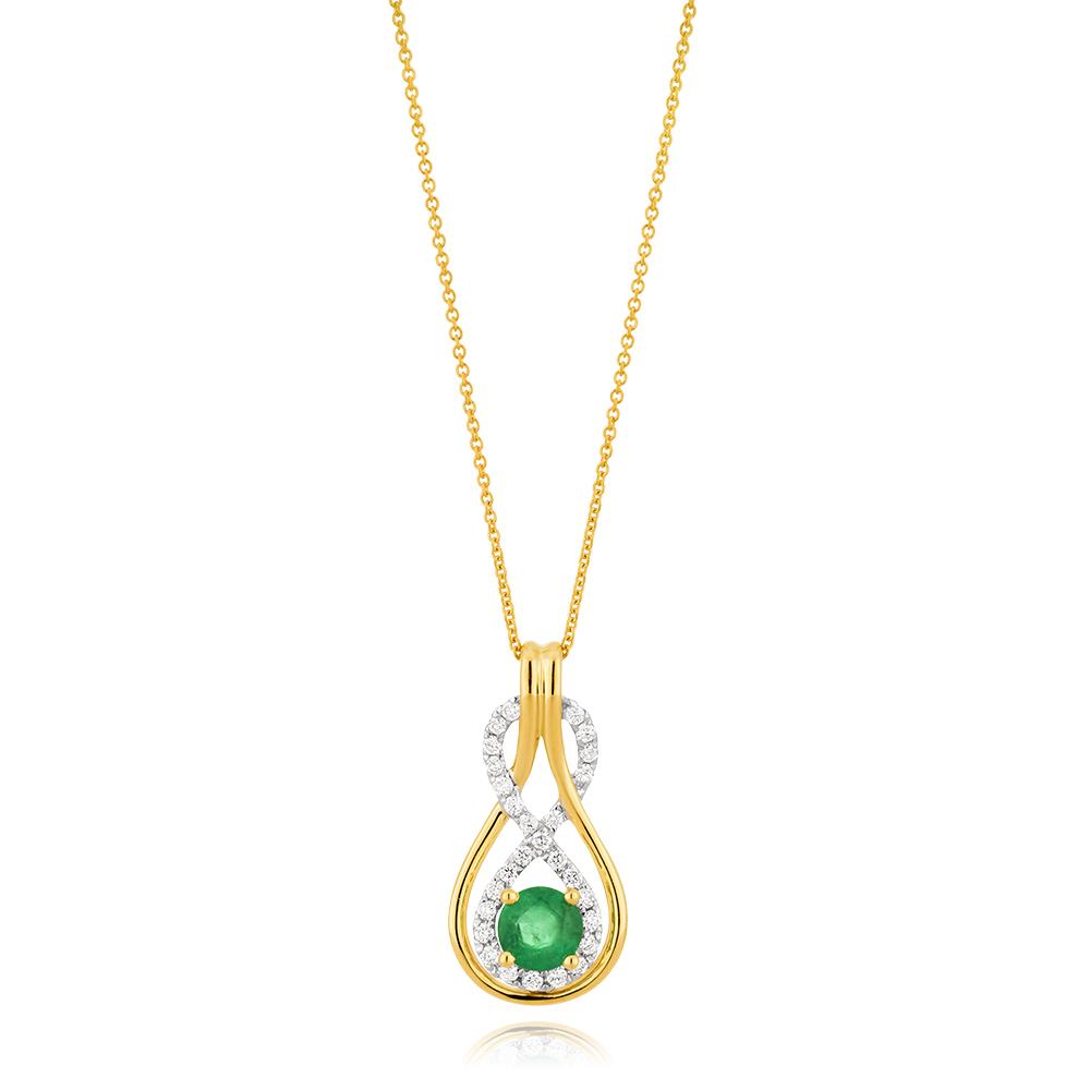 9ct Yellow Gold Natural Emerald 5mm + Diamond 0.22ct Infinity Pendant + 45cm Chain