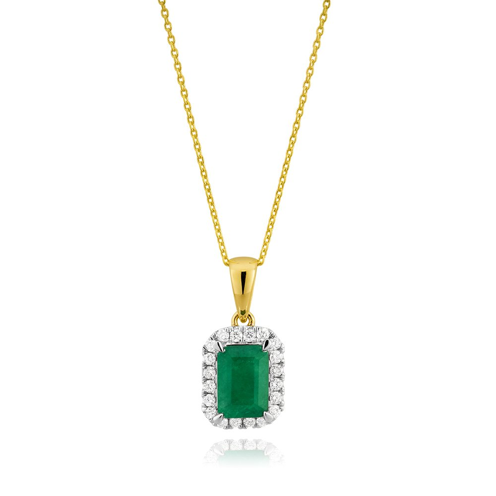 9ct Yellow Gold Natural Emerald 7x5mm and Diamond Pendant with 45cm Chain