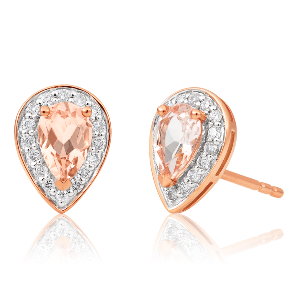 9ct Rose Gold 6x4mm Pear Morganite and 0.15ct Diamond Stud Earrings