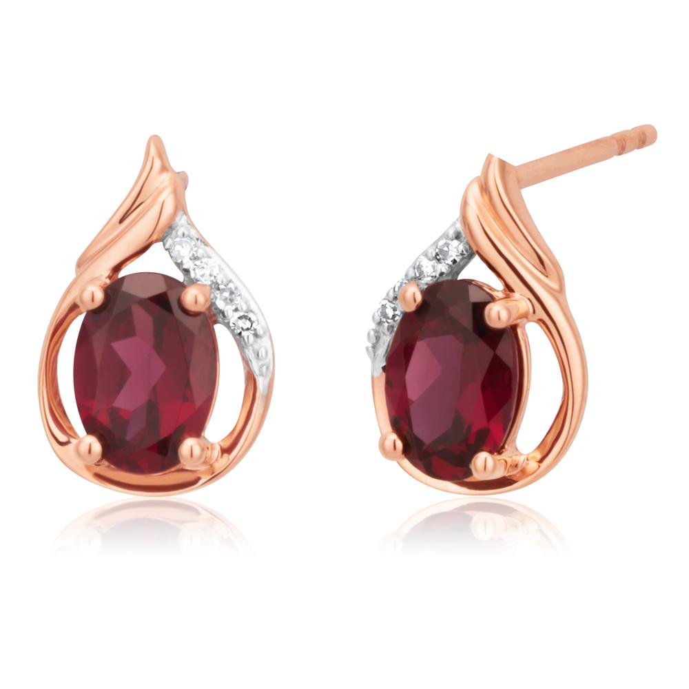 9ct Rose Gold 7x5mm Oval Rhodolite Garnet and Diamond Stud Earrings