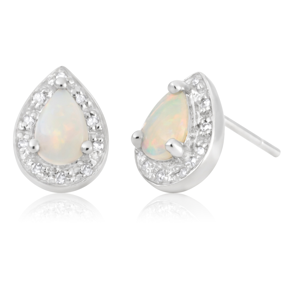 9ct White Gold White Opal and Diamond Pear Stud Earrings