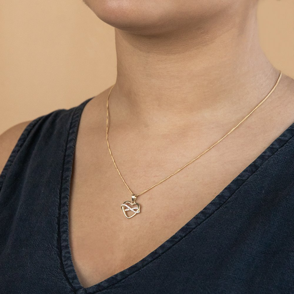 9ct Yellow Gold Heart and Infinity Cubic Zirconia Pendant