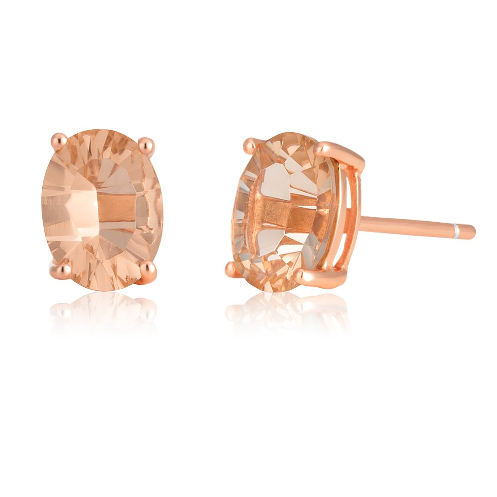 9ct Rose Gold Oval 6MM x 4MM Morganite Stud Earrings