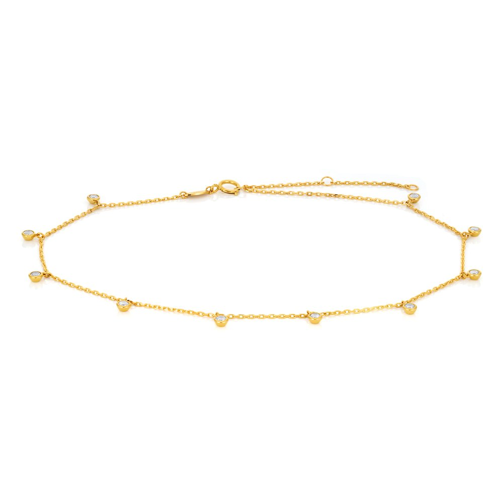 9ct Yellow Gold Anklet with Cubic Zirconias