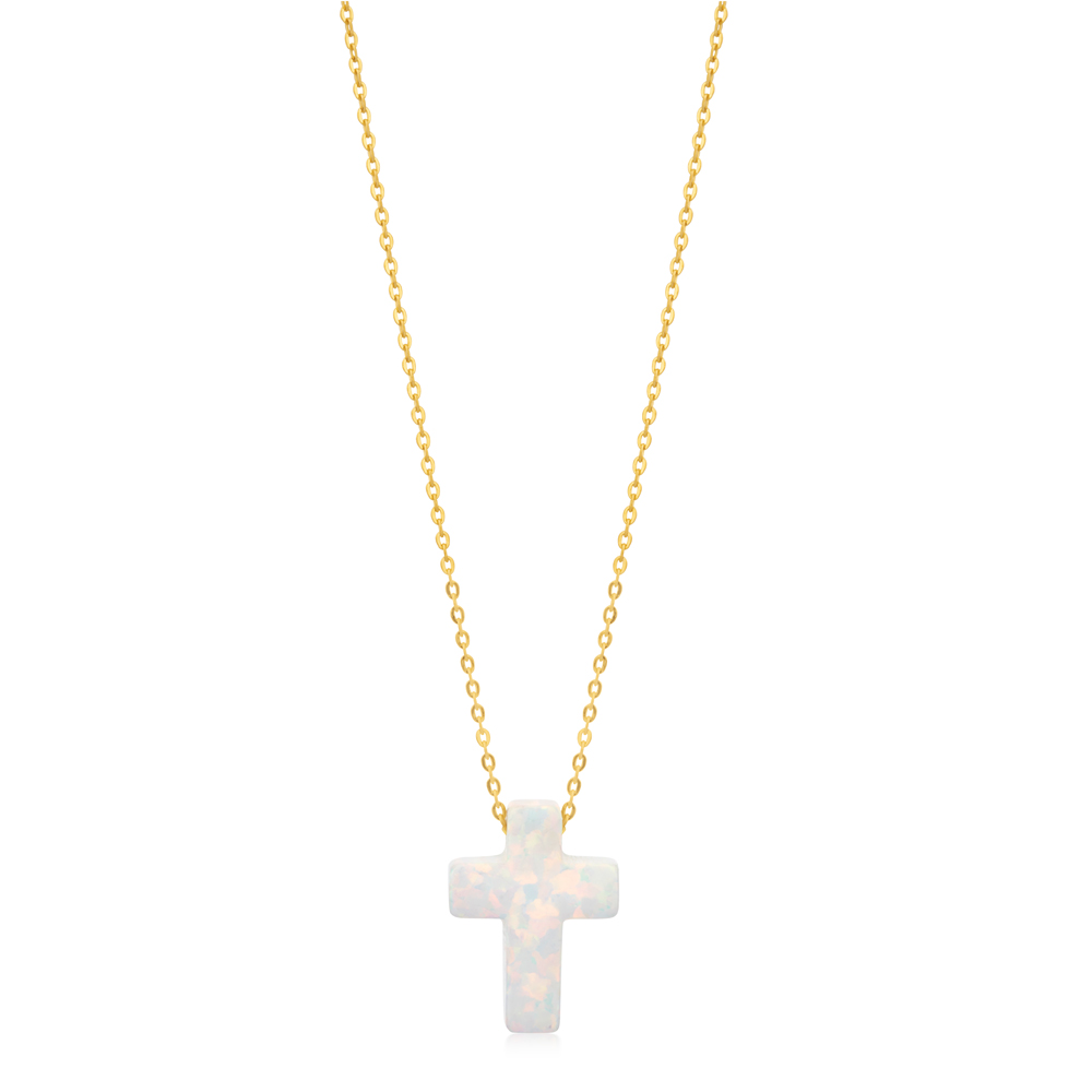 9ct Yellow Gold Synthetic Opal Cross Pendant