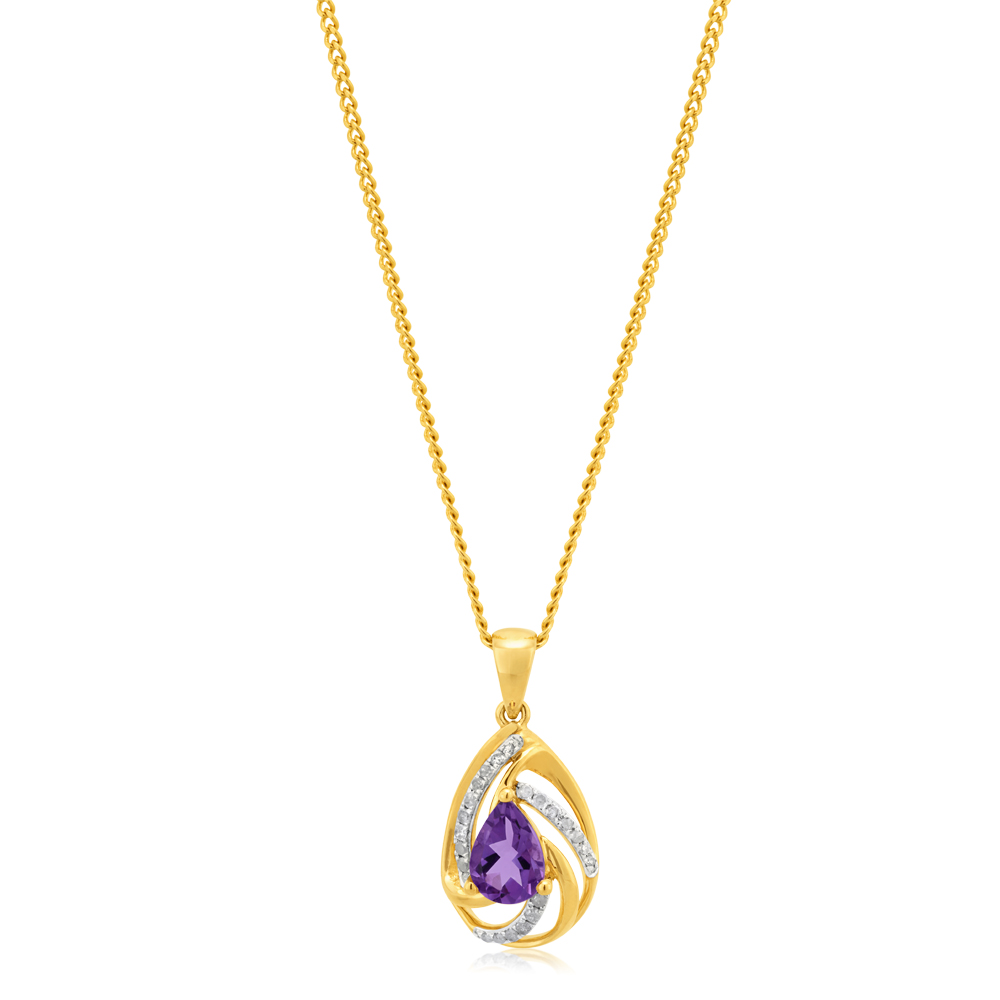 9ct Yellow Gold Amethyst Pendant with Diamonds