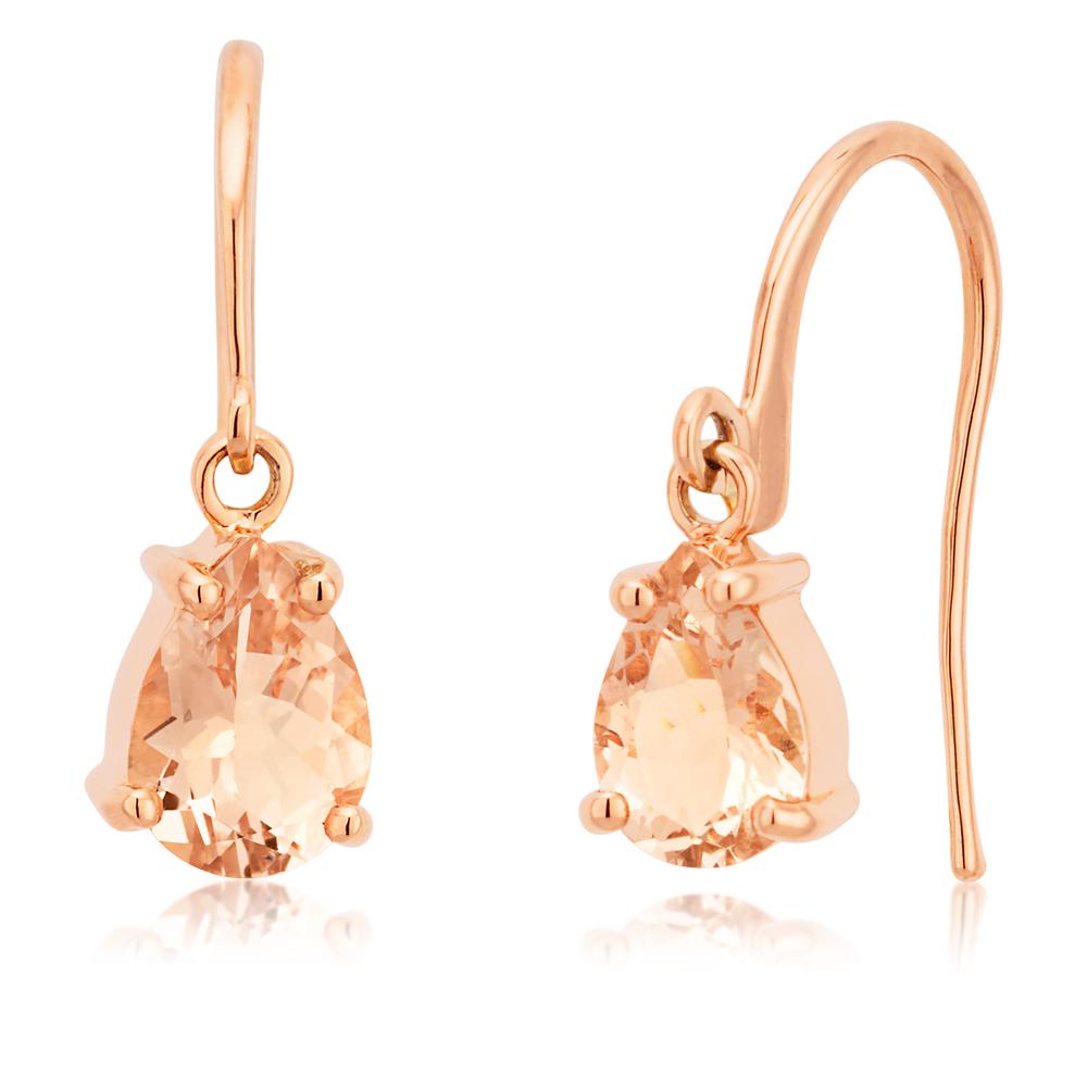 9ct Rose Gold 1.07 Carat Morganite Drop Earrings