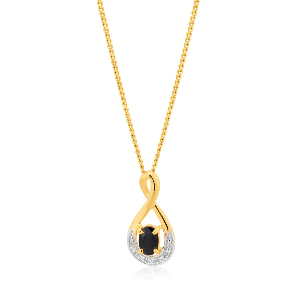 9ct Yellow Gold Natural Black Sapphire & Diamond Pendant