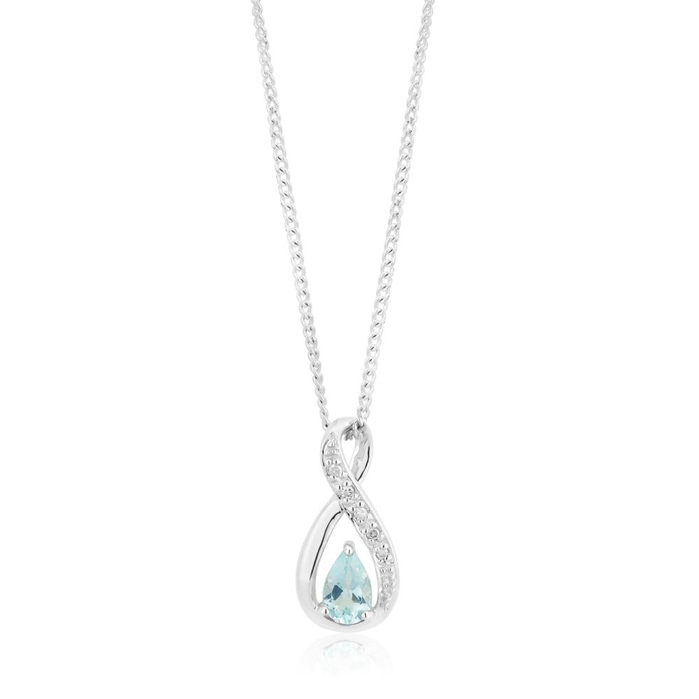 9ct White Gold Aquamarine & Diamond Infinity Pendant