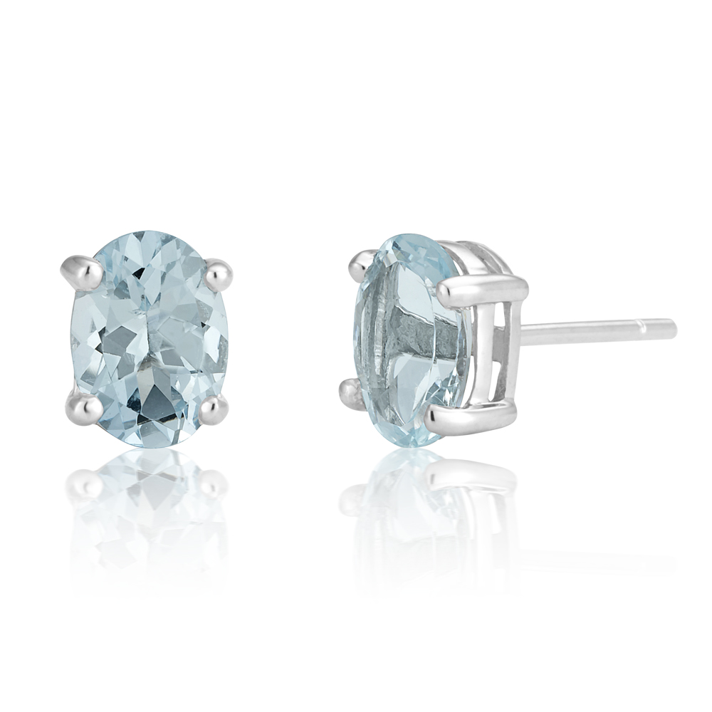 9ct White Gold Aquamarine Oval Stud Earrings