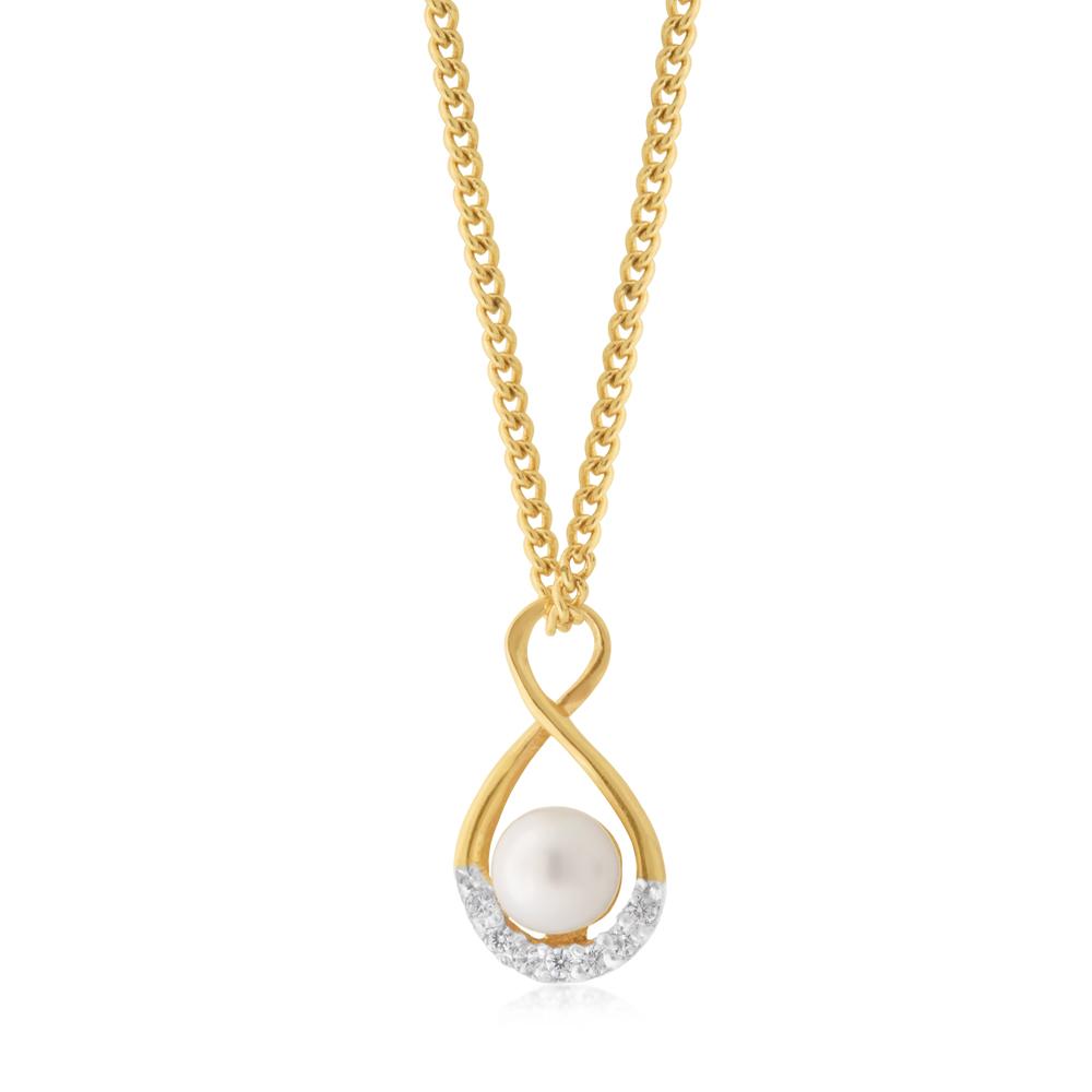 9ct Yellow Gold Fresh Water Pearl & Zirconia Infinity Pendant