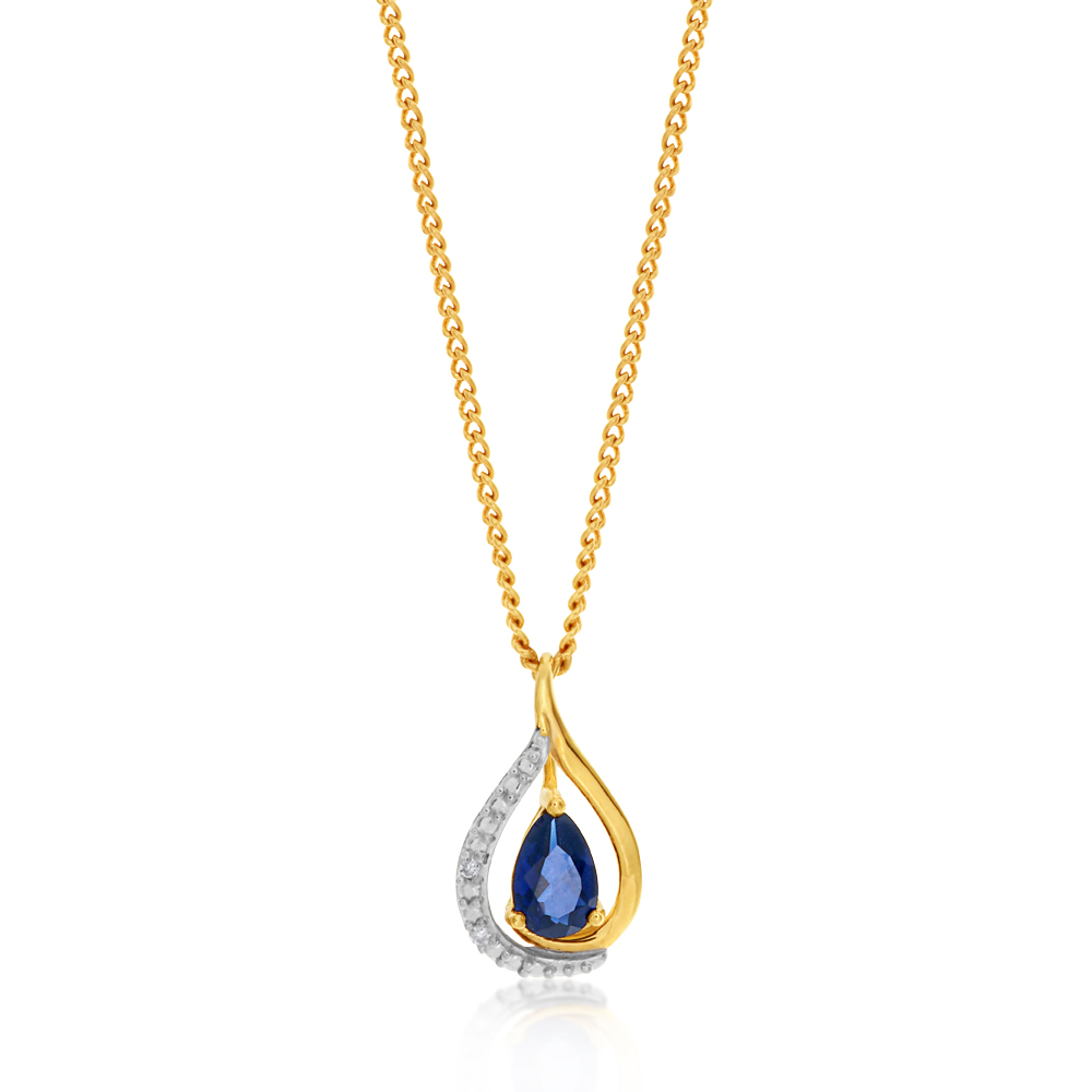 9ct Yellow Gold Created Sapphire and Diamond Pendant