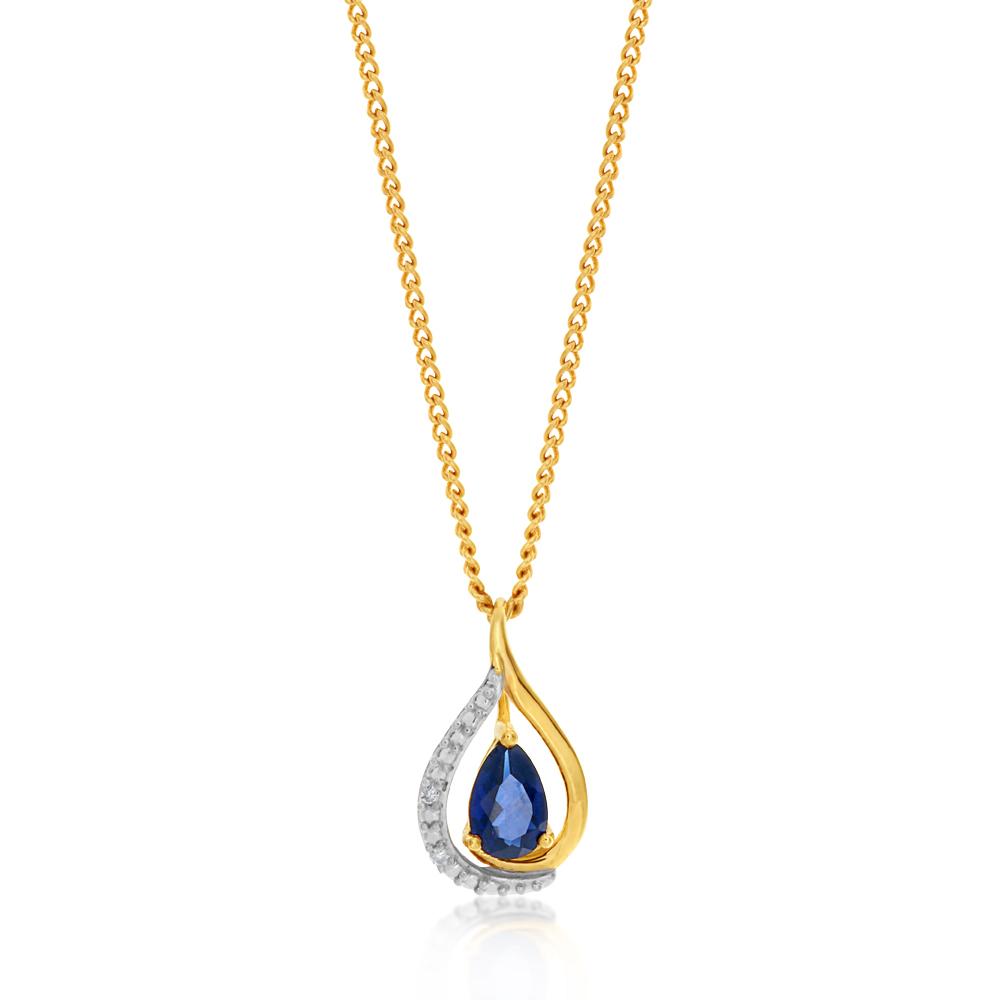9ct Yellow Gold Created Sapphire and Diamond Pendant