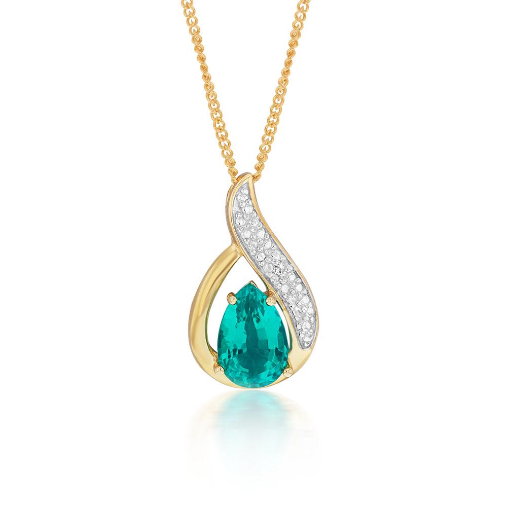 9ct Created Emerald & Diamond Pendant