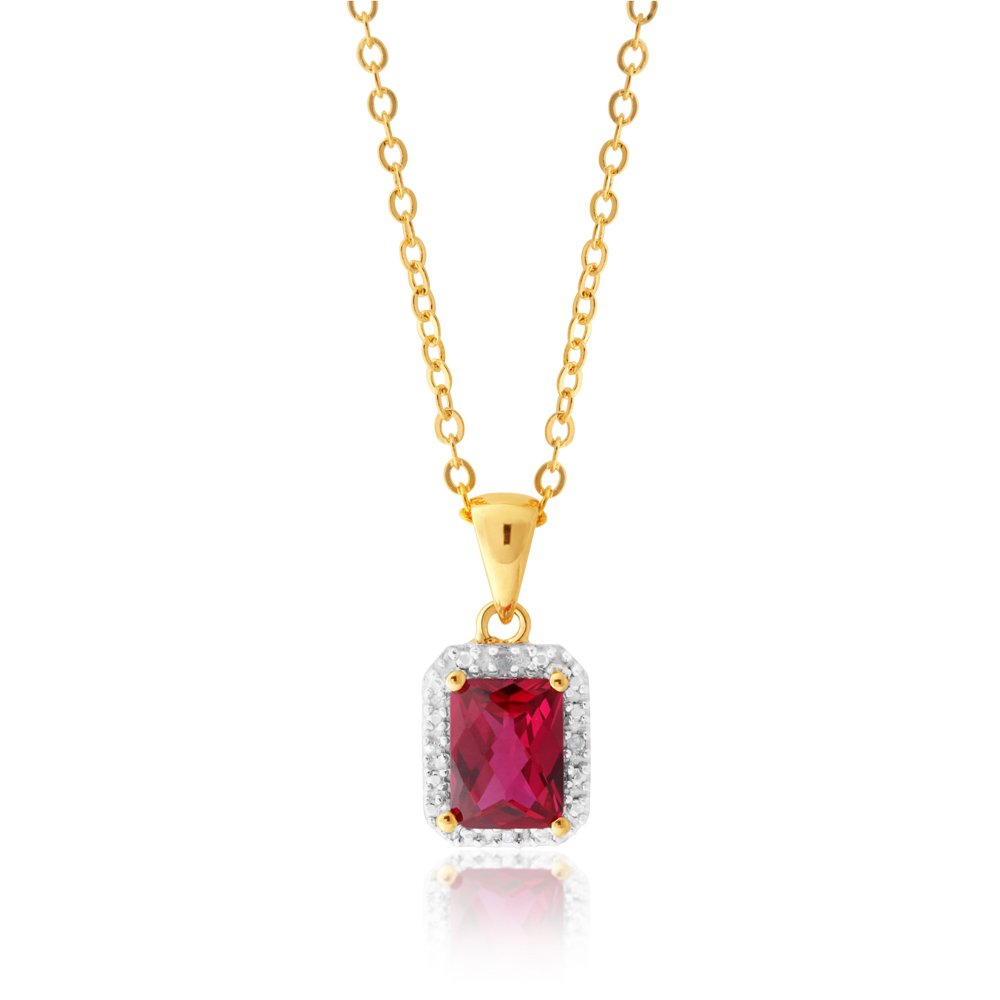 9ct Yellow Gold Emerald Cut Created Ruby And Diamond Halo Pendant & Gold Plated Chain