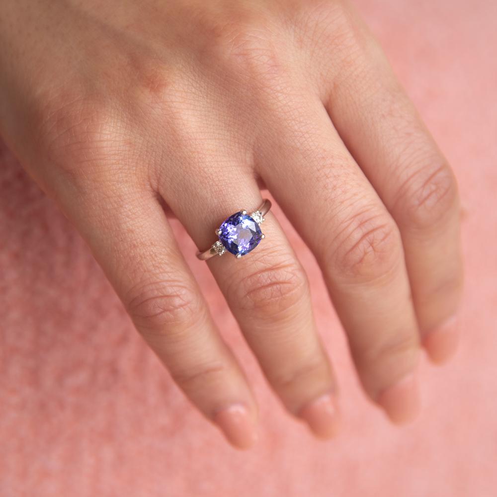 2.00ct Tanzanite Cushion & Diamond Trilogy Ring in 9ct White Gold
