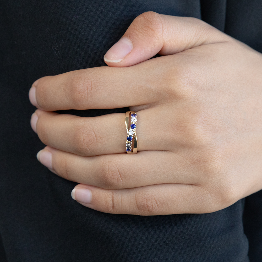 9ct Yellow Gold Created Sapphire and Diamond Ring