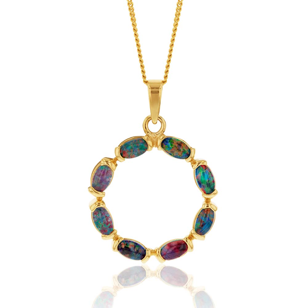 9ct Yellow Gold 5x3mm Triplet Opal Circle of Life Pendant