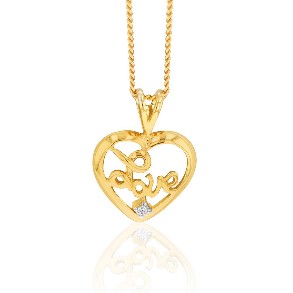 "9ct Yellow Gold Zirconia ""Love"" Heart Pendant"