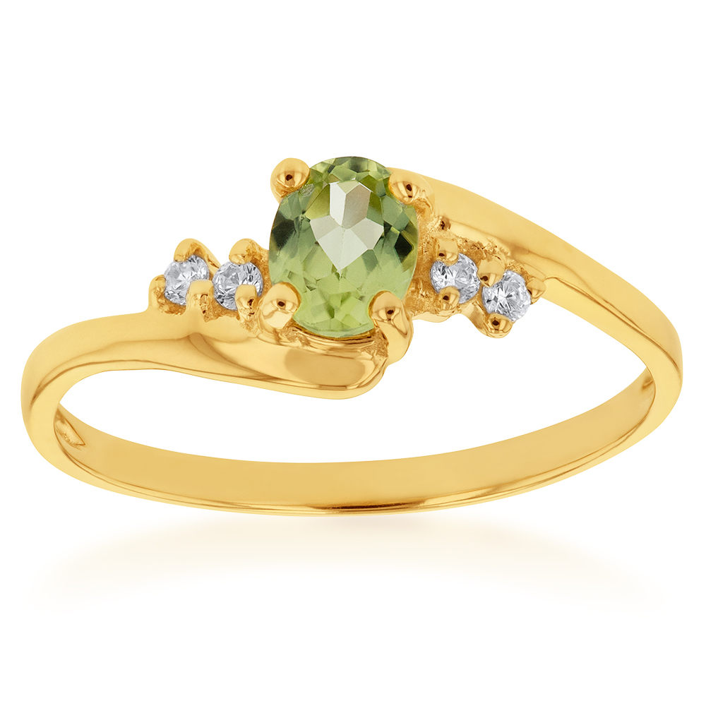 9ct Yellow Gold Peridot and Zirconia Ring