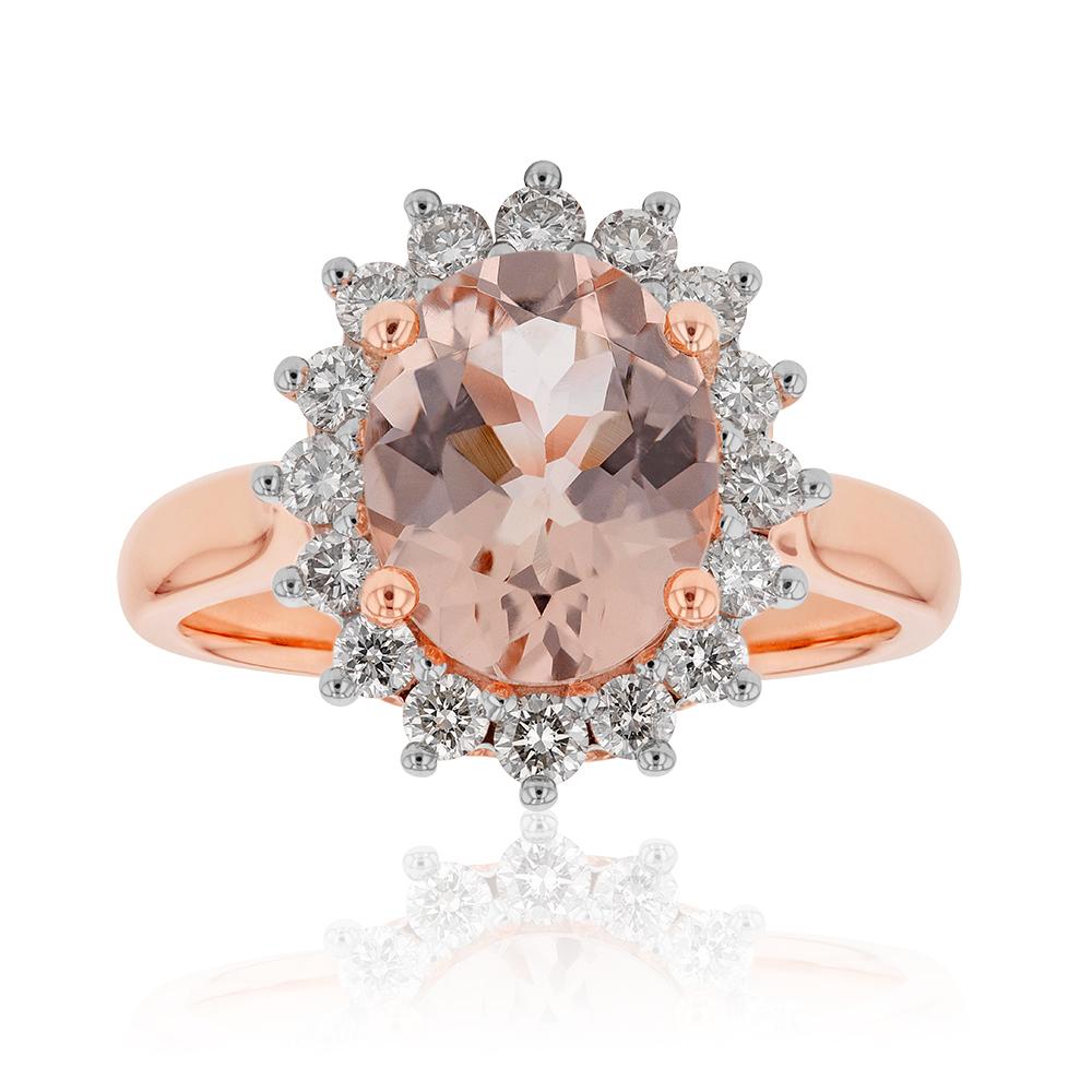 9ct Rose Gold 2.30 Carat Morganite and 1/2 Carat Diamond Ring