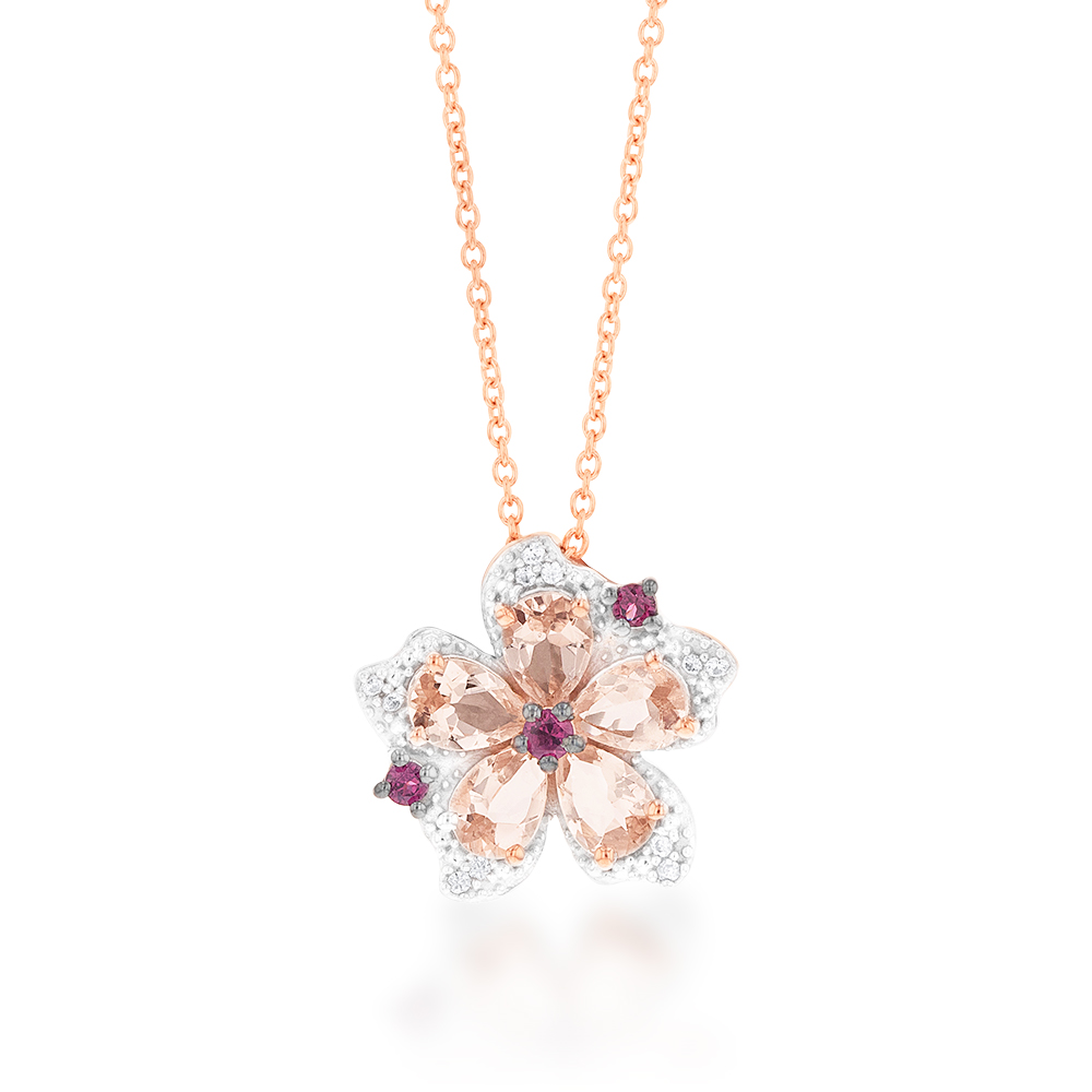 Rose Plated Sterling Silver Morganite Rhodolite and White Zircon Pendant on Chain