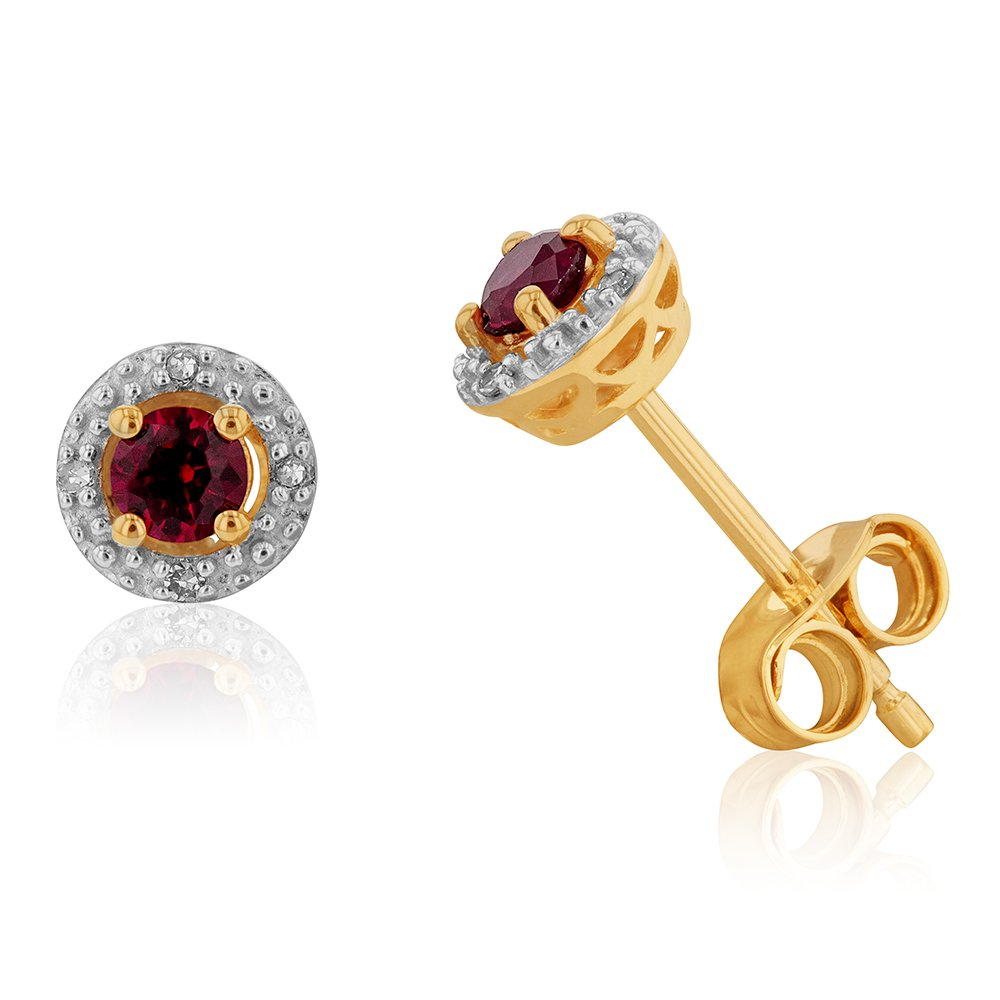 9ct Yellow Gold 3mm Created Ruby and Diamond Halo Stud Earrings
