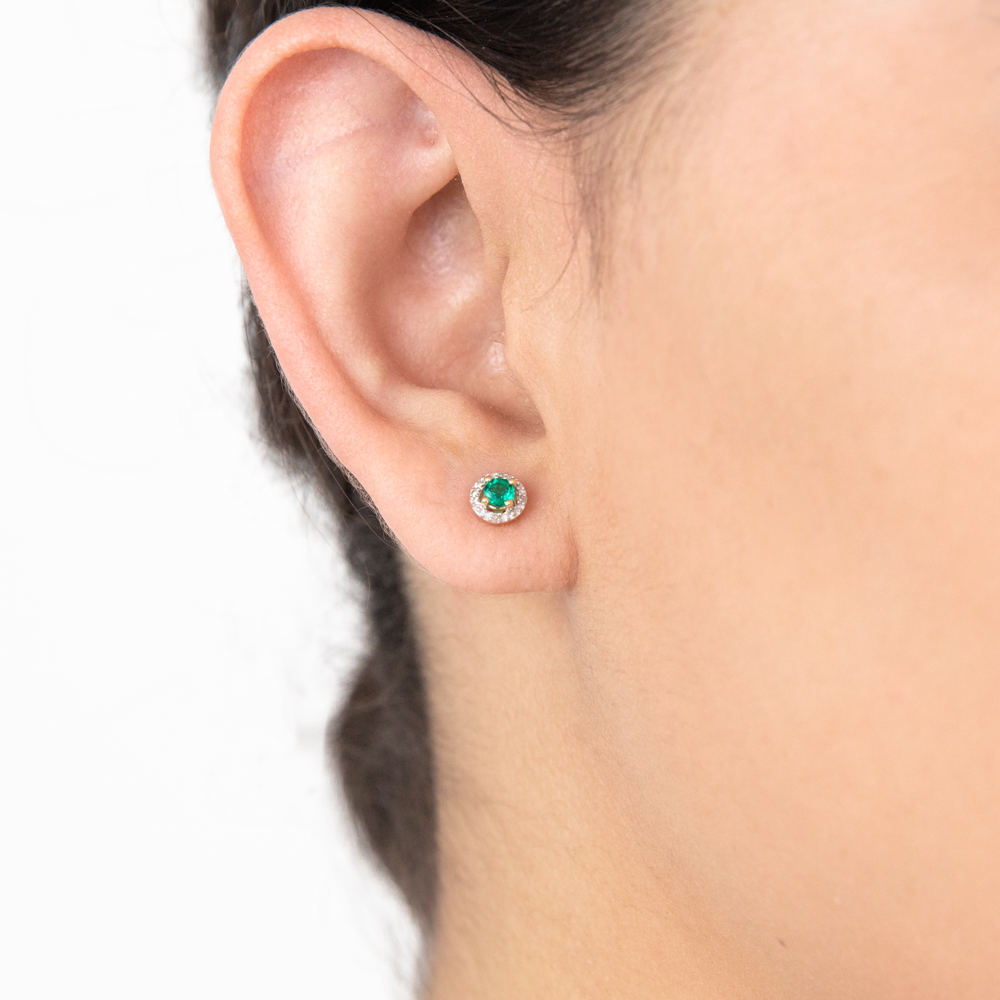 9ct Yellow Gold 3mm Created Emerald and Diamond Halo Studs Earrings