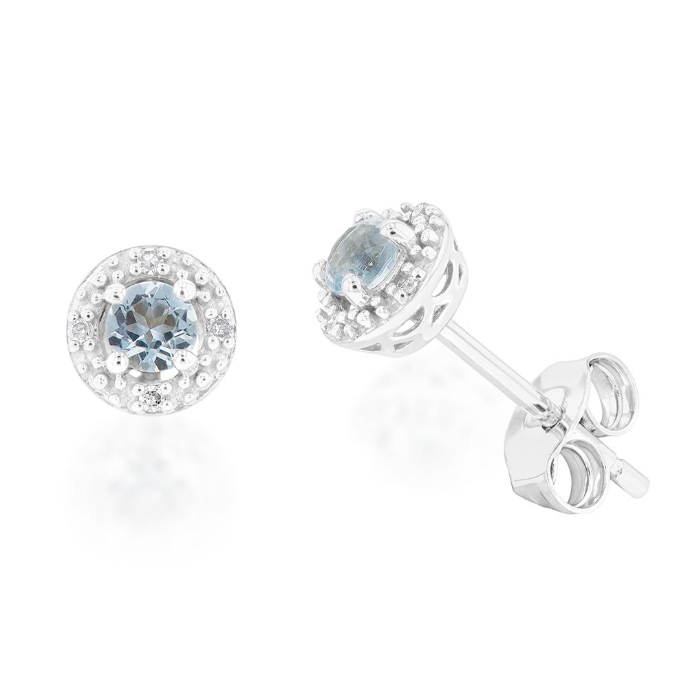 9ct White Gold 3mm Aquamarine and Diamond Halo Stud Earrings