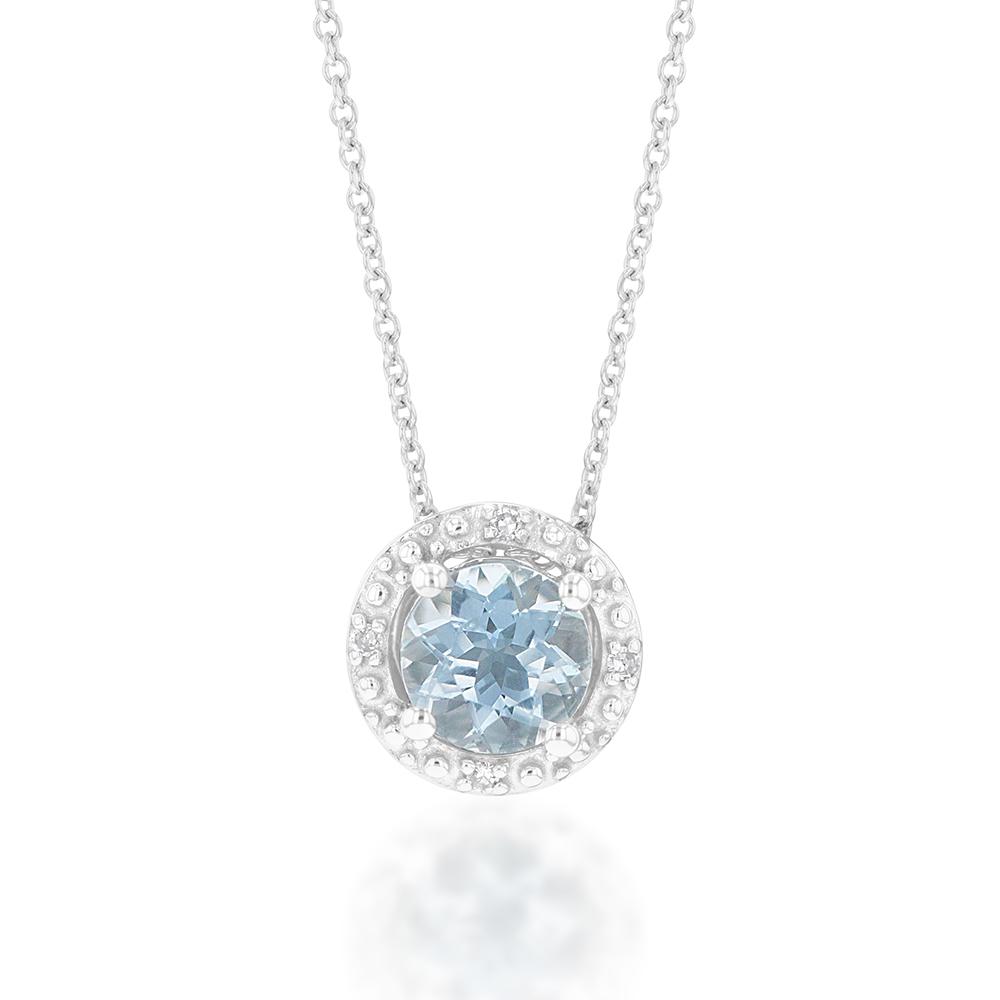 9ct White Gold 5mm Aquamarine and Diamond Halo Pendant on 45cm Chain