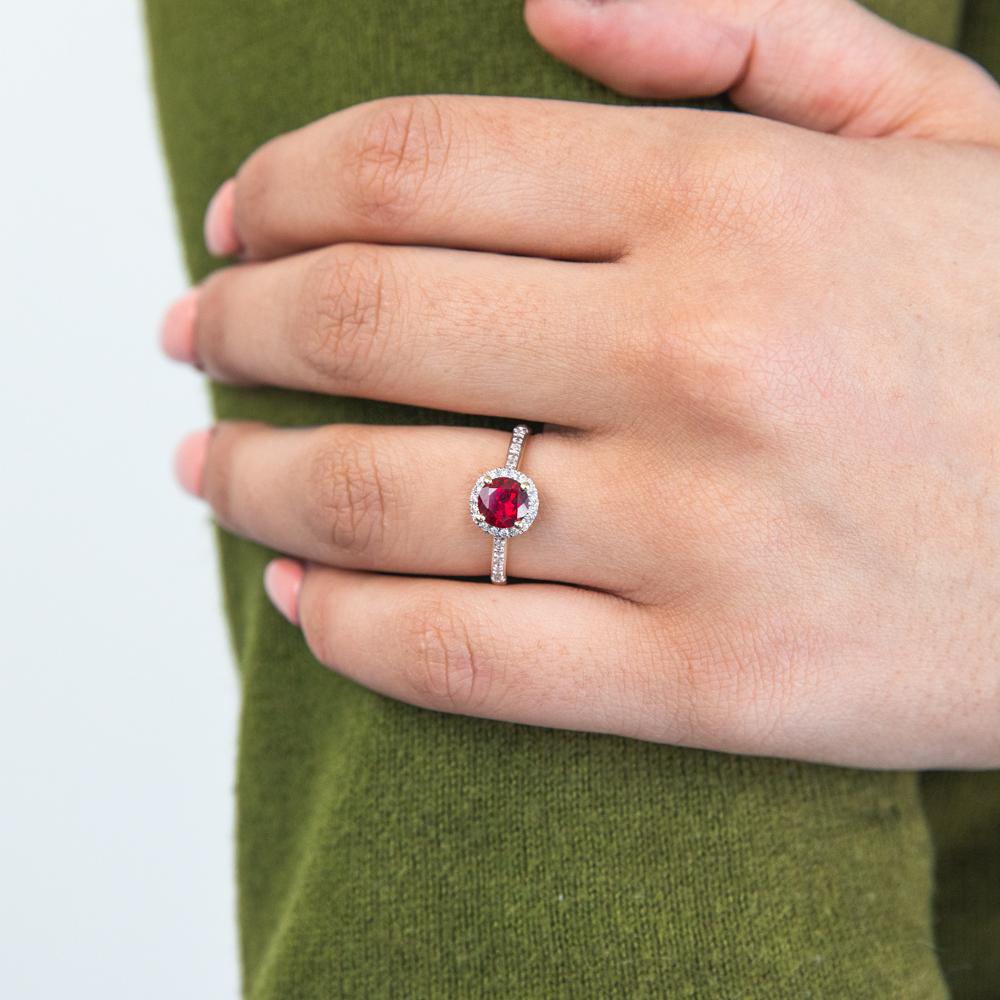 9ct Yellow Gold 6mm Created Ruby and Diamond Halo Ring