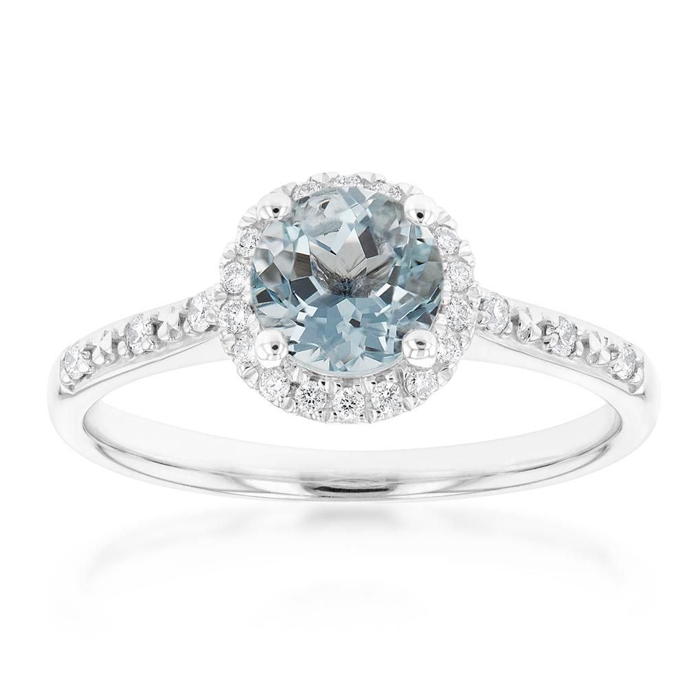9ct White Gold 6mm Aquamarine and Diamond Halo Ring
