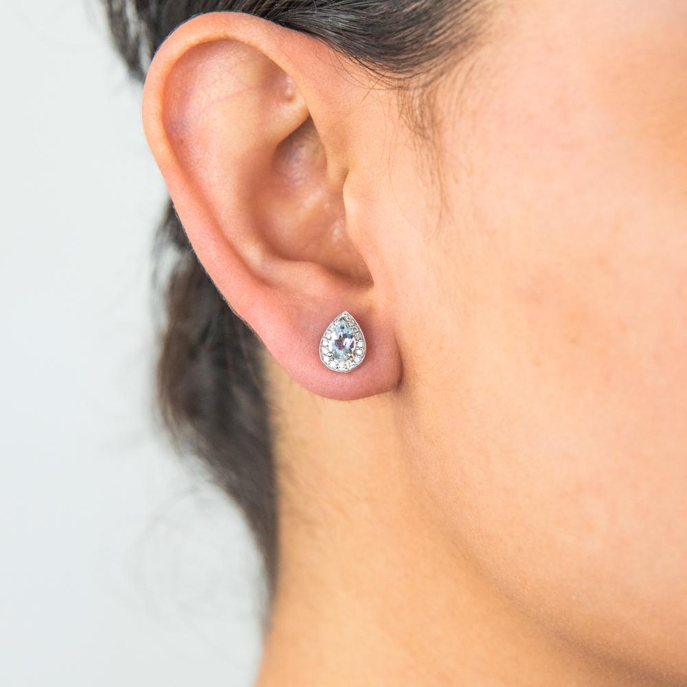 9ct White Gold 6x4mm Aquamarine and Diamond Pear Halo Stud Earrings