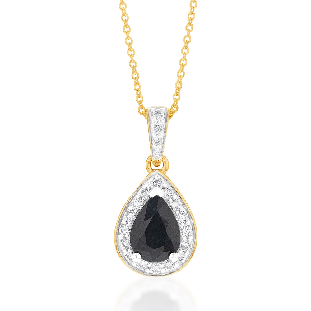 9ct Yellow Gold 7x5mm Natural Sapphire Pear Halo Pendant on 45cm Chain