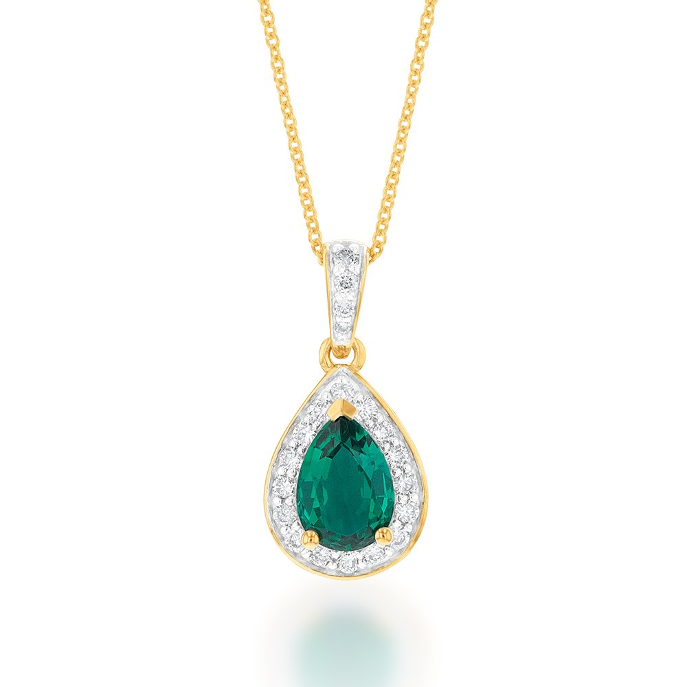 9ct Yellow Gold 7x5mm Created Emerald and Diamond Pear Halo Pendant on 45cm Chain