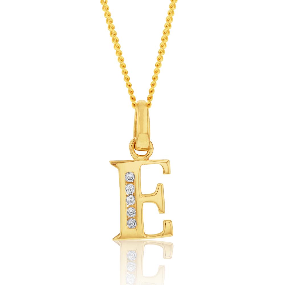 9ct Yellow Gold Initial E Zirconia Pendant