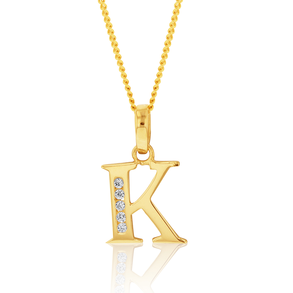 9ct Yellow Gold Initial K Zirconia Pendant