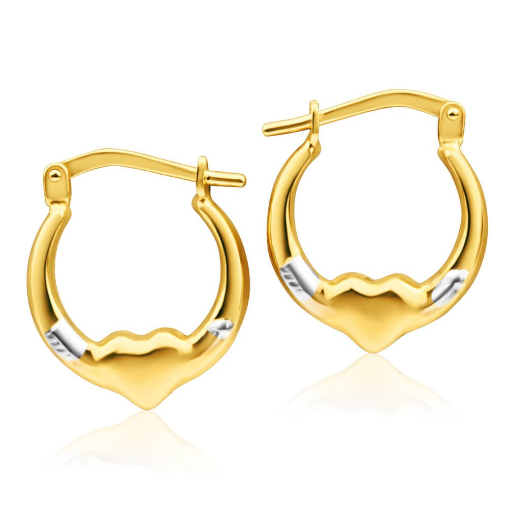 9ct Yellow Gold Silver Filled Fancy Heart Hoop Creole Earrings