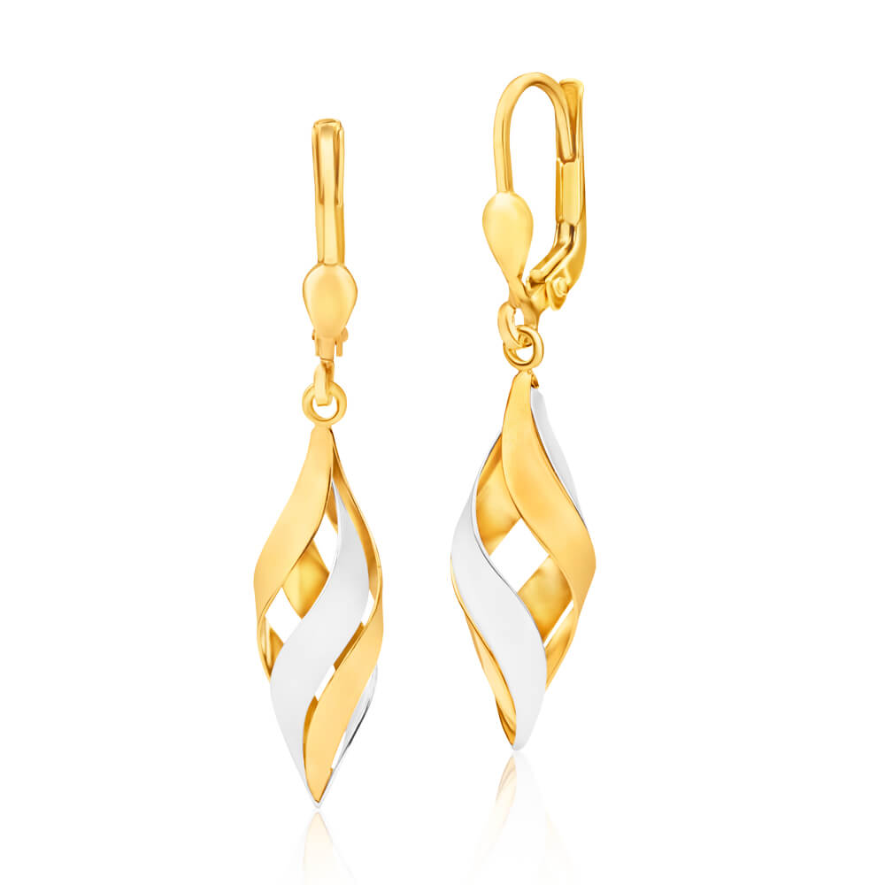 9ct Yellow Gold Silver Filled Two Tone Finish Twist Cage Drop Earrings