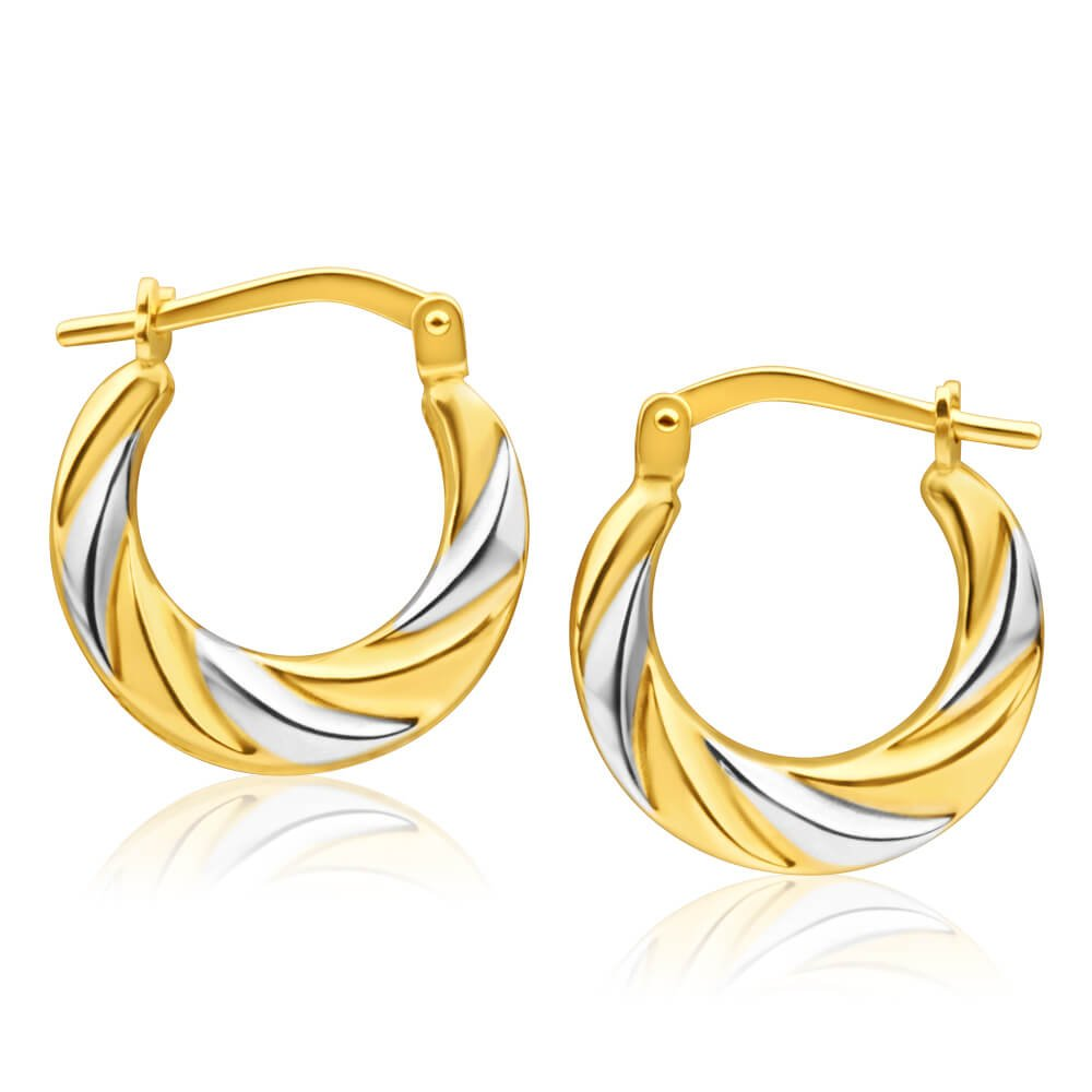 9ct Yellow Gold Silver Filled Two Tone Twist Hoop Earrings