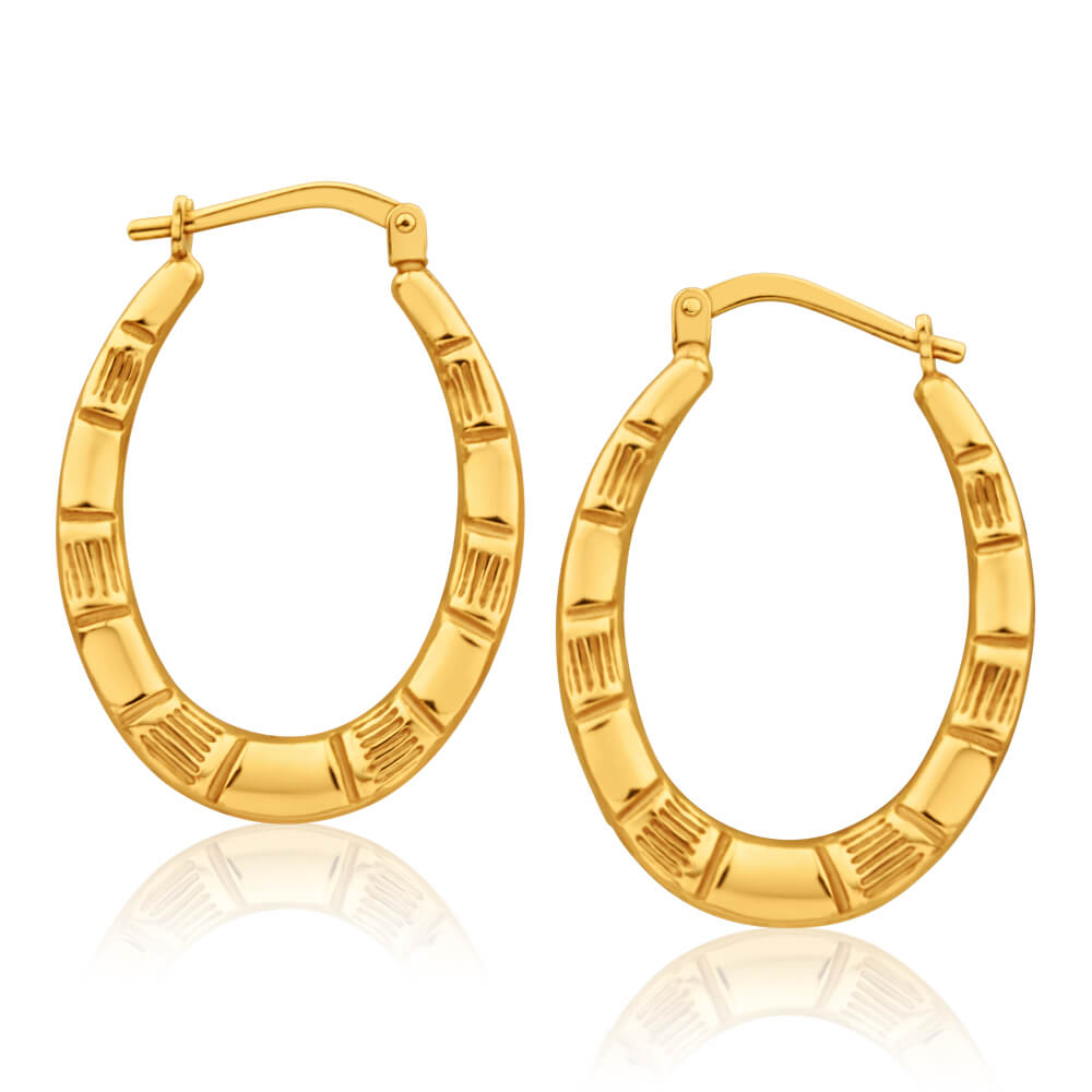 9ct Yellow Gold Silver Filled Oval Bamboo Style 13mm Hoop Earrings