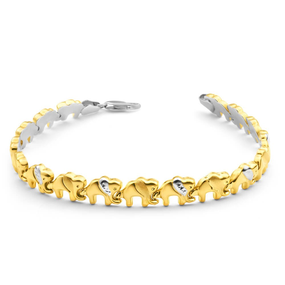 9ct Yellow Gold Silver Filled Elephant Fancy Bracelet