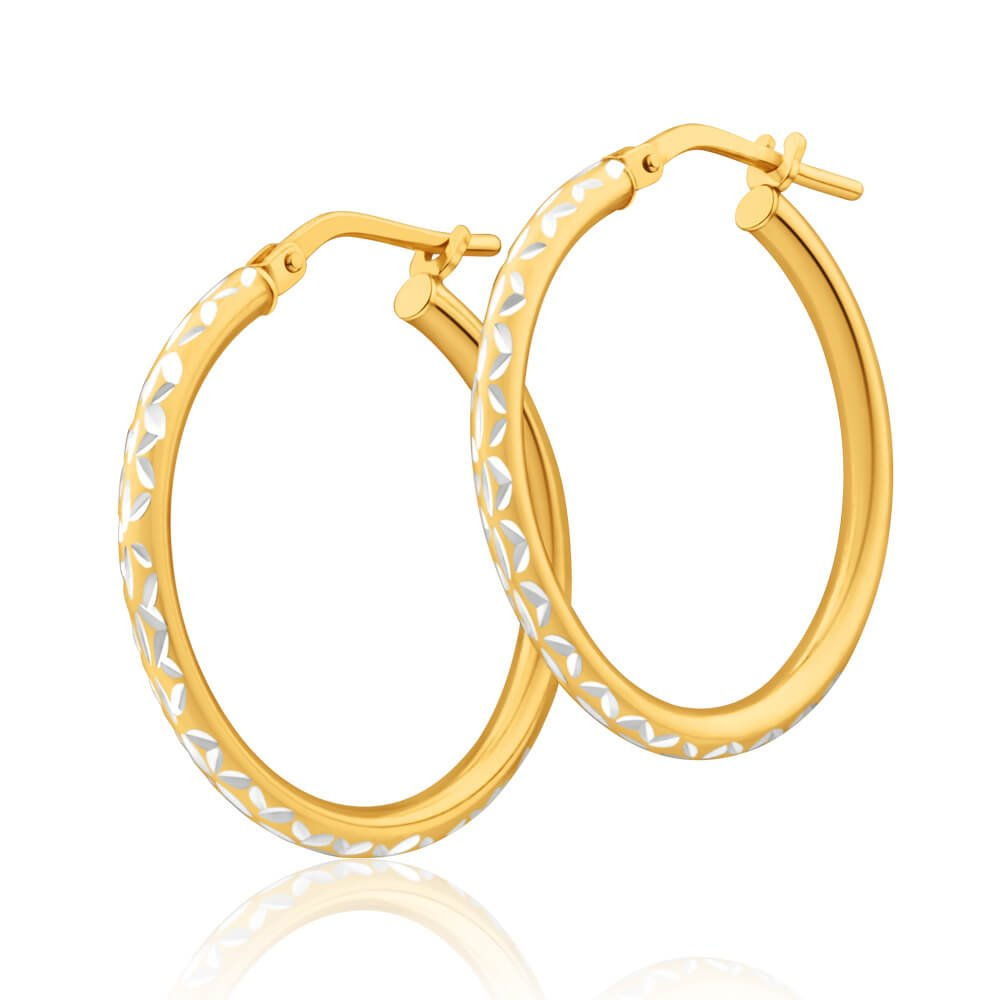 9ct Yellow Gold Silver Filled Two Tone 20mm Hoop Earrings