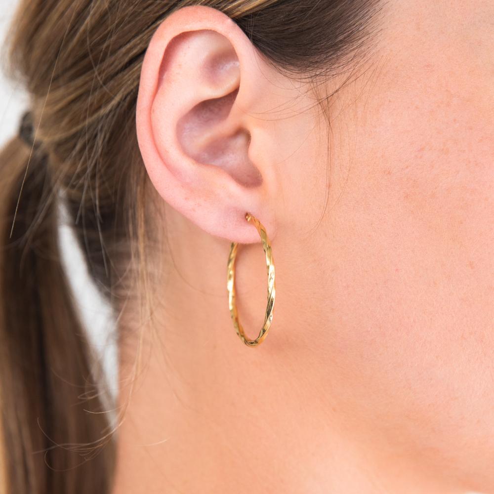 9ct Yellow Gold Silver Filled Twist 30mm Hoop Earrings