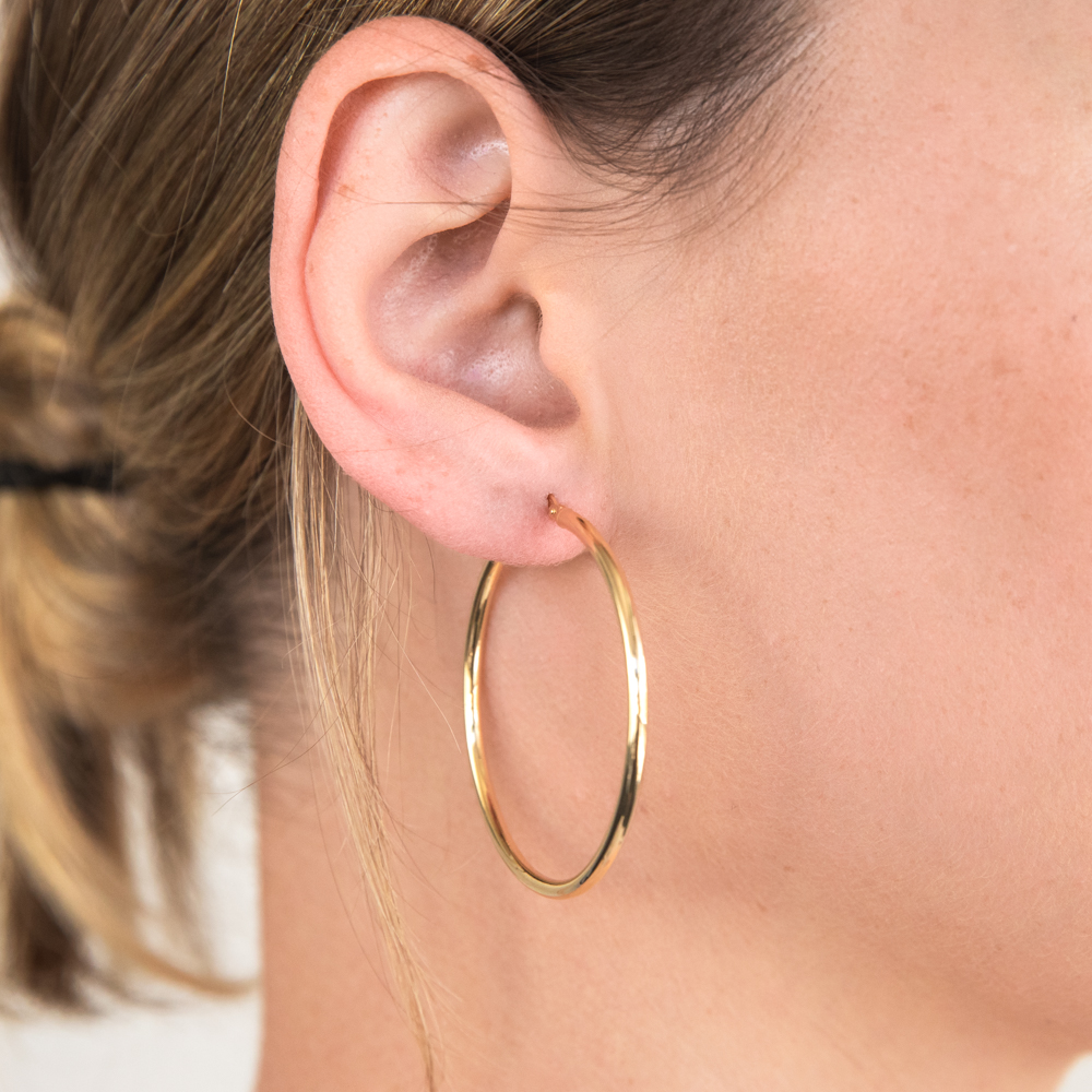 9ct Yellow Gold Silver Filled Gypsy 40mm Hoop Earrings