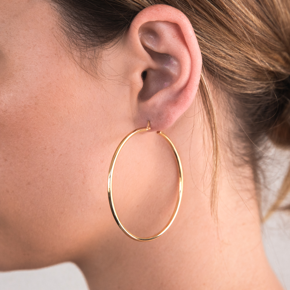 9ct Yellow Gold Silver Filled Gypsy 50mm Hoop Earrings