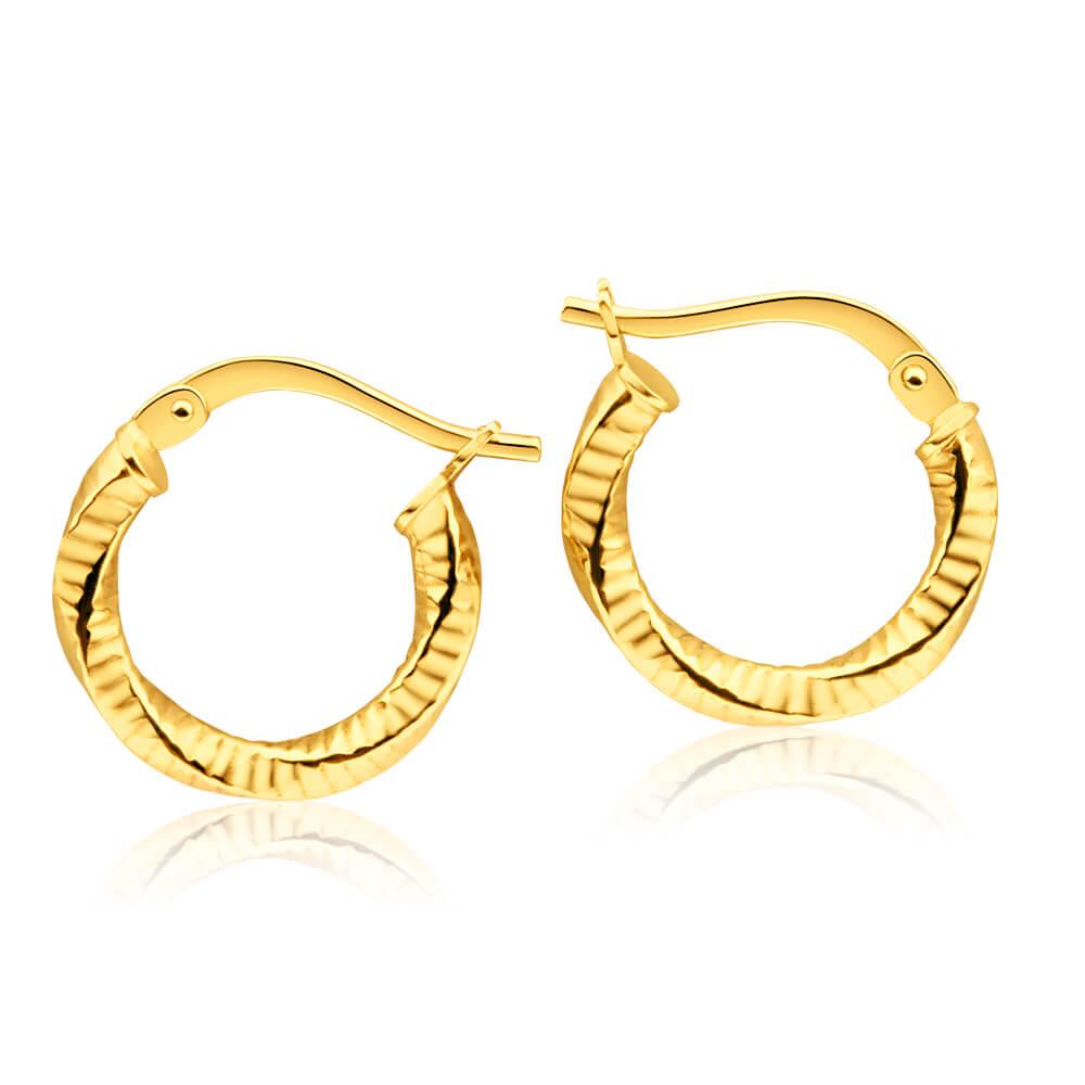 9ct Yellow Gold Silver Filled Fancy Twist Hoop Earrings