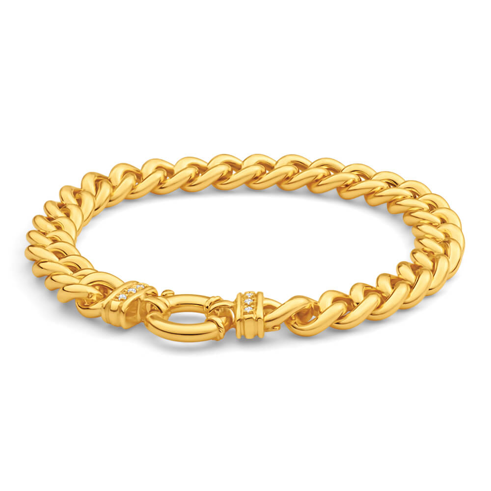 9ct Yellow Gold Silver Filled Cubic Zirconia 20cm Twist Curb Bracelet