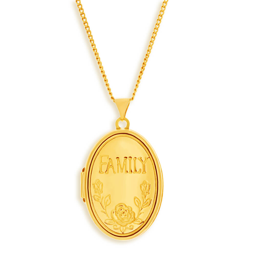 9ct Yellow Gold Silver Filled Oval Locket with 'Family' & Flower Design Engraving
